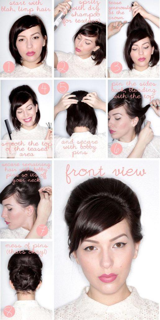 прическа в стиле ретро на короткие волосы
