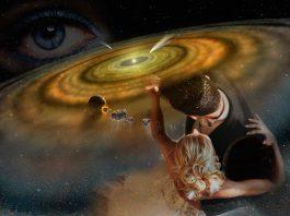 мужчина и женщина в галактике