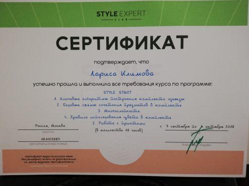 сертификат лариса климова
